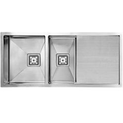 designer square drain stainless steel sink