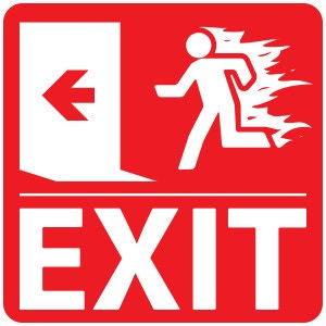 Emergency fire exit sign on a red background