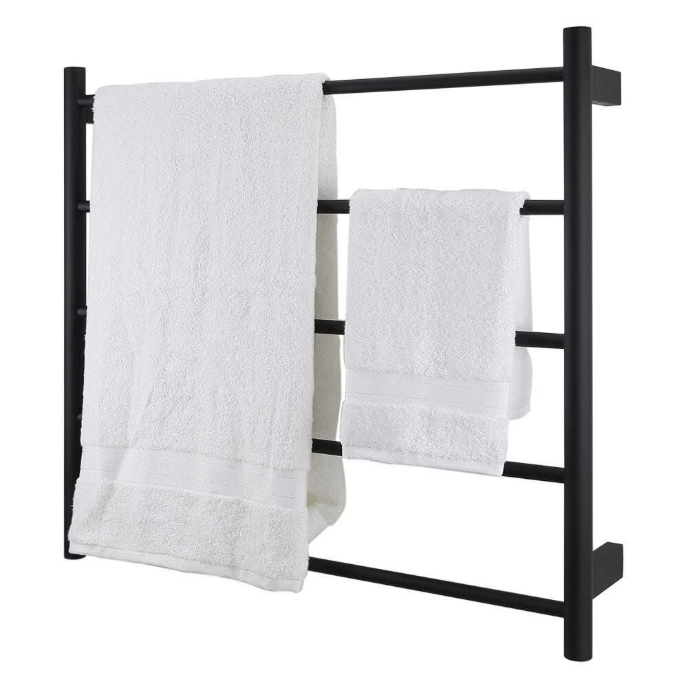 matte-black-heated-towel-rail-two-white-towels