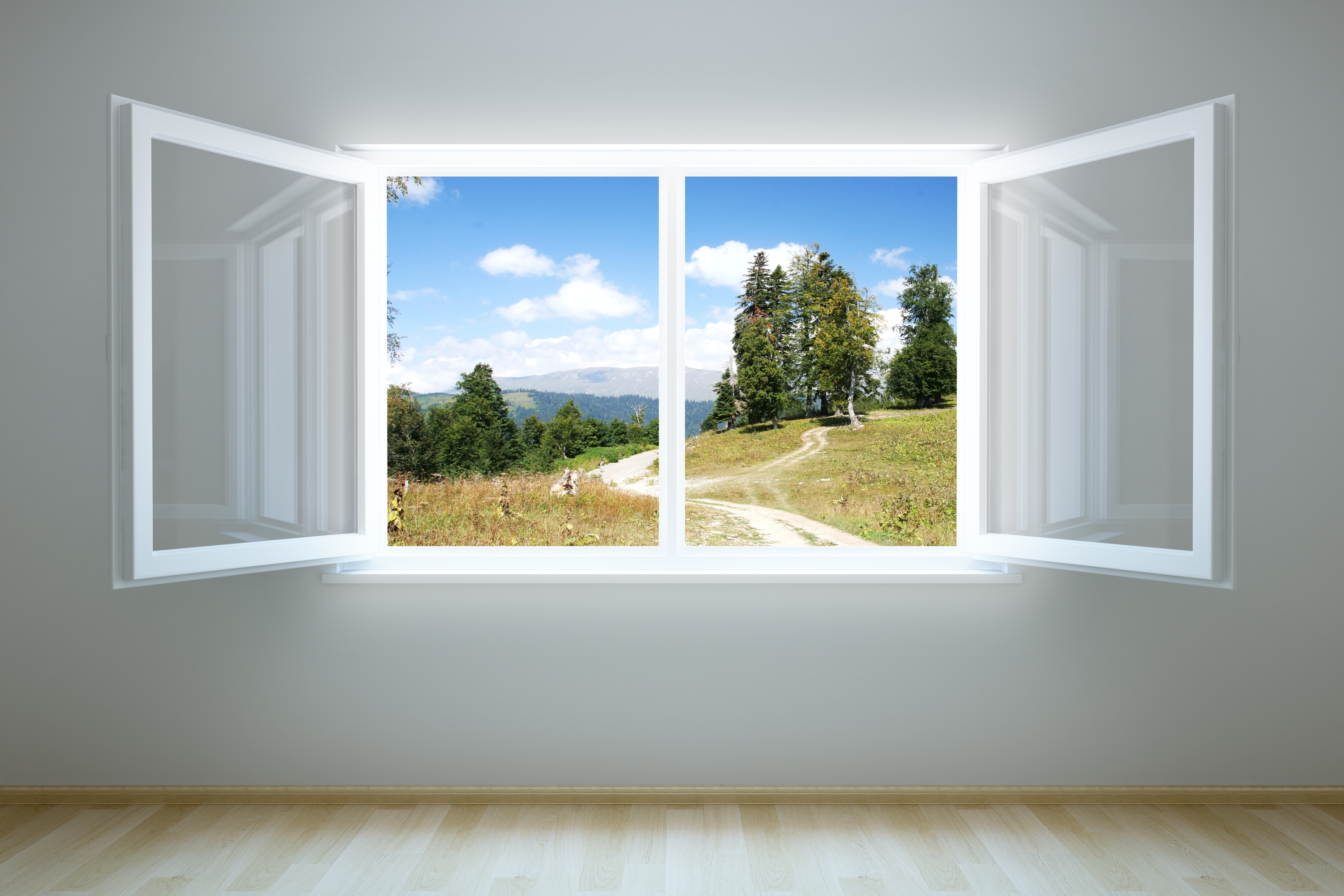 3d rendering of an empty room with open window