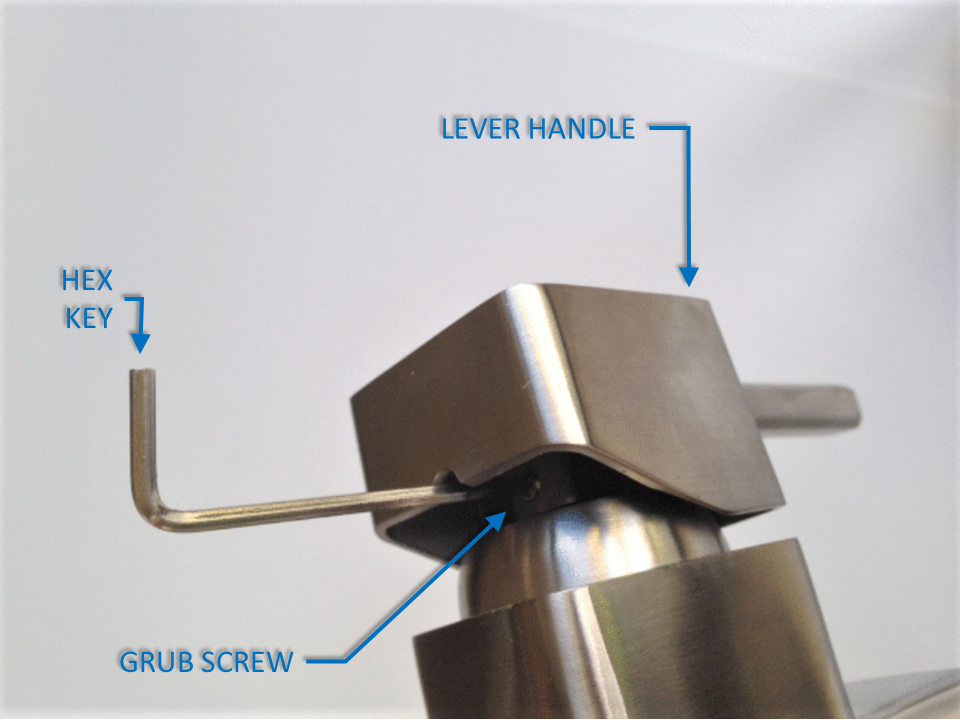 removing the lever handle of a mixer tap using a hex key