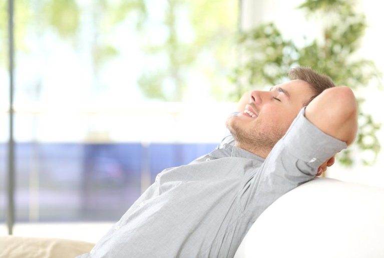 man resting with peace of mind