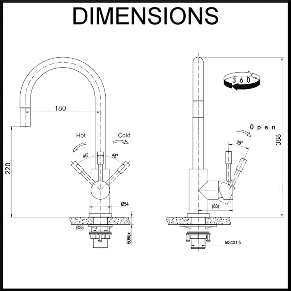 Klaas with optional pull dimensions