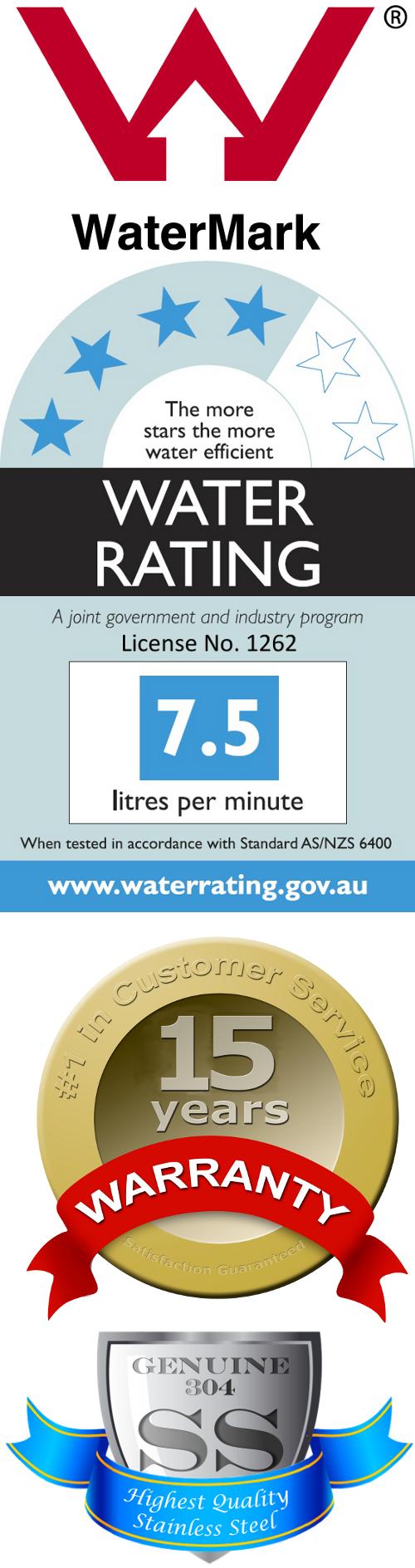 Australian Watermark Certified, 4-Star Water Rating